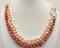 3 Row Necklace of Baroque Pearls (2)